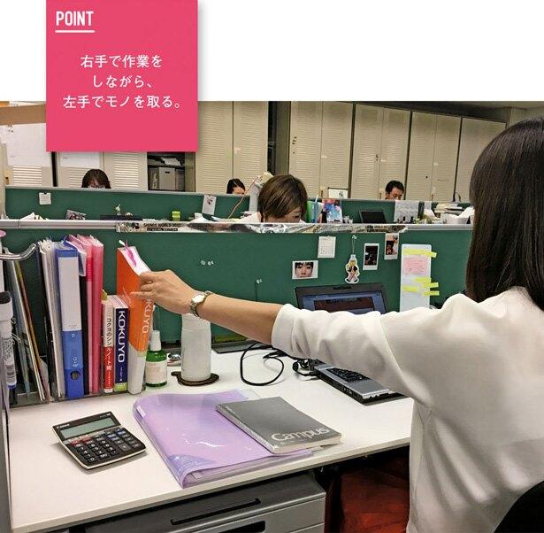 フリーアドレスではなく、自分の固定席があるので、 仕事をしやすい配置を常に研究している。