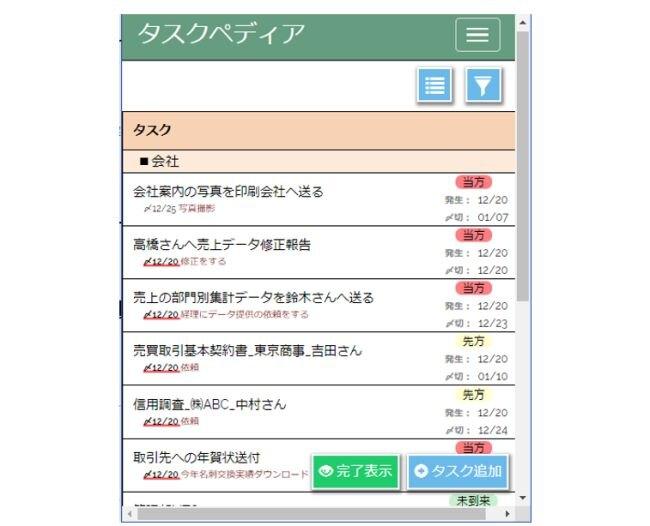 タスク管理ツールの例