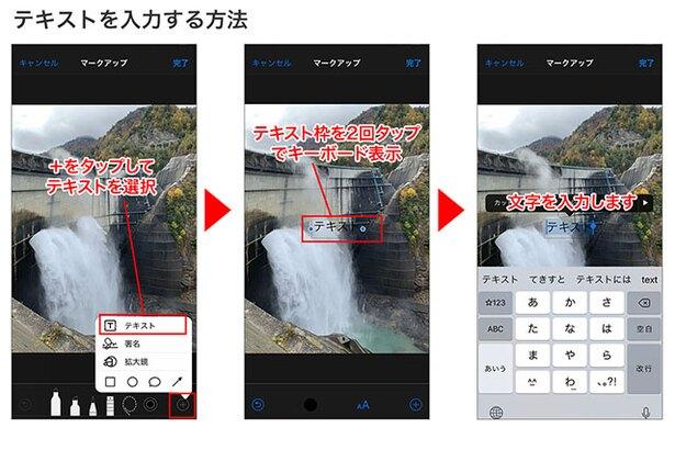 右下の「+」で「テキスト」を選択→画面上に「テキスト」と書かれた枠が配置されます→枠を2回タップするとキーボードが表示されるので、文字を入力します
