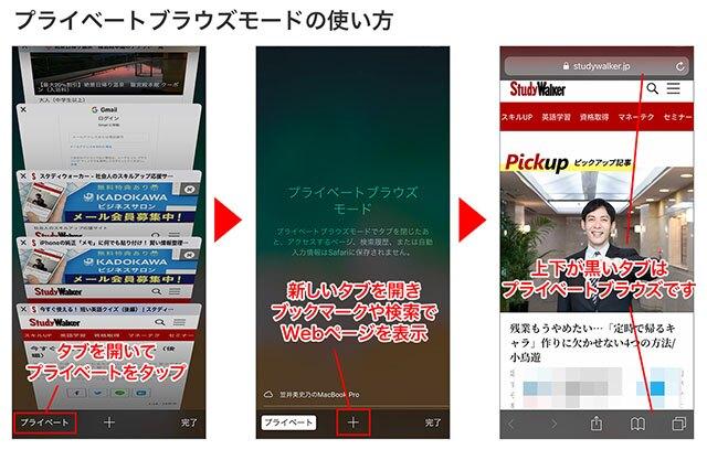 タブを開き「プライベート」をタップ→「+」で新しいタブを開きます。ブックマークや検索は、通常通り使えます→上下の黒いプライベートタブが開きました