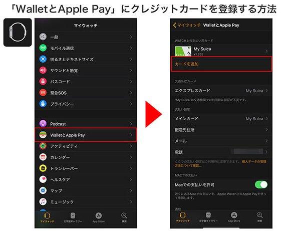iPhoneの「Watch」を開き、「WalletとApple Pay」をタップ→「カードを追加」を選択