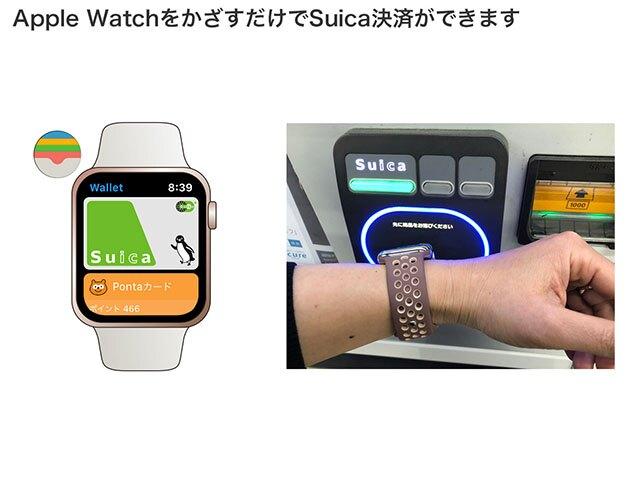 Apple Watchの「Wallet」アプリを開くと、Suicaが表示されます。アプリの操作などは必要なく、決済端末にApple Watchをかざすだけで、支払いが完了します