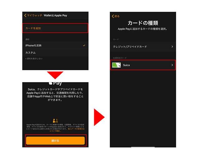カードを追加→続ける→Suicaの順にタップ