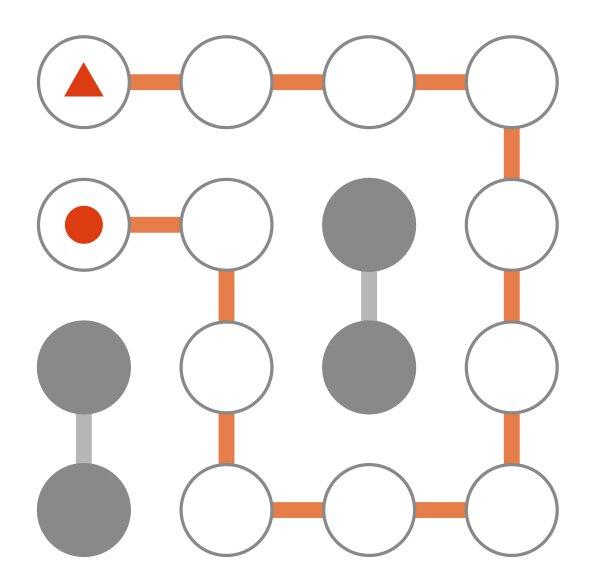 ▲からスタートして、ゴールの●まで進む迷路パズルです。●を通らずにゴールまで進んでください。の答え