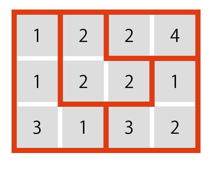 足して「合計」の数になるように、数字のマスを囲んでください。の答え